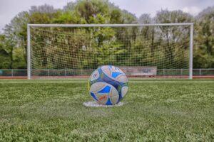 Children's Soccer Coaching Edmonton - photo of a football on penalty spot